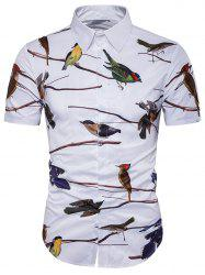 3D Birds Print Cover Placket Hawaiian Shirt