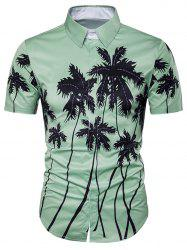 Coconut Tree Print Cover Placket Hawaiian Shirt