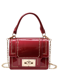Chain Rivet Patnet Leather Handbag - RED