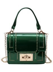 Chain Rivet Patnet Leather Handbag - GREEN