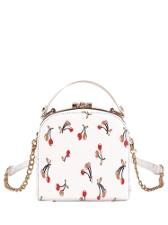 Metal Trim Cherry Print Handbag - WHITE