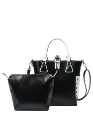 Faux Leather Handbag and Clutch Bag - BLACK