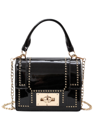Chain Rivet Patnet Leather Handbag