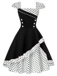 Cap Polka Dot Corset Vintage Dress - WHITE
