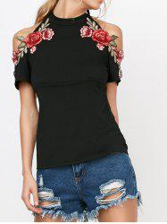 Cold Shoulder Flower Embroideried Halter T-Shirt - BLACK