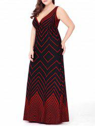 Plus Size Zigzag Beach Plunge Maxi  Dress