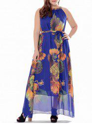 Plus Size Printed Chiffon High Neck Maxi Dress