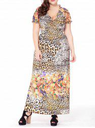 Leopard Short Sleeve Plus Size Maxi Dress