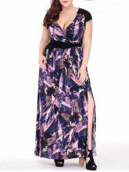 Plus Size Butterfly Printed Slit Maxi Plunge Dress