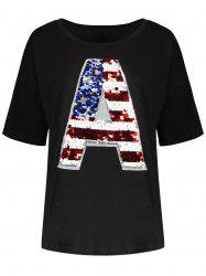Sequin Plus Size American Flag Top