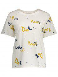 Plus Size Short Sleeve Graphic Butterfly Print Tee