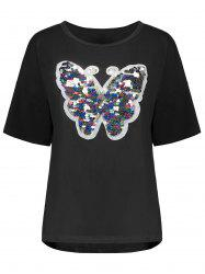 Plus Size Sequin Butterfly Top