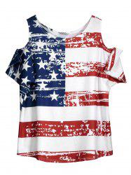 Cold Shoulder Distressed American Flag T-shirt - WHITE ONE SIZE
