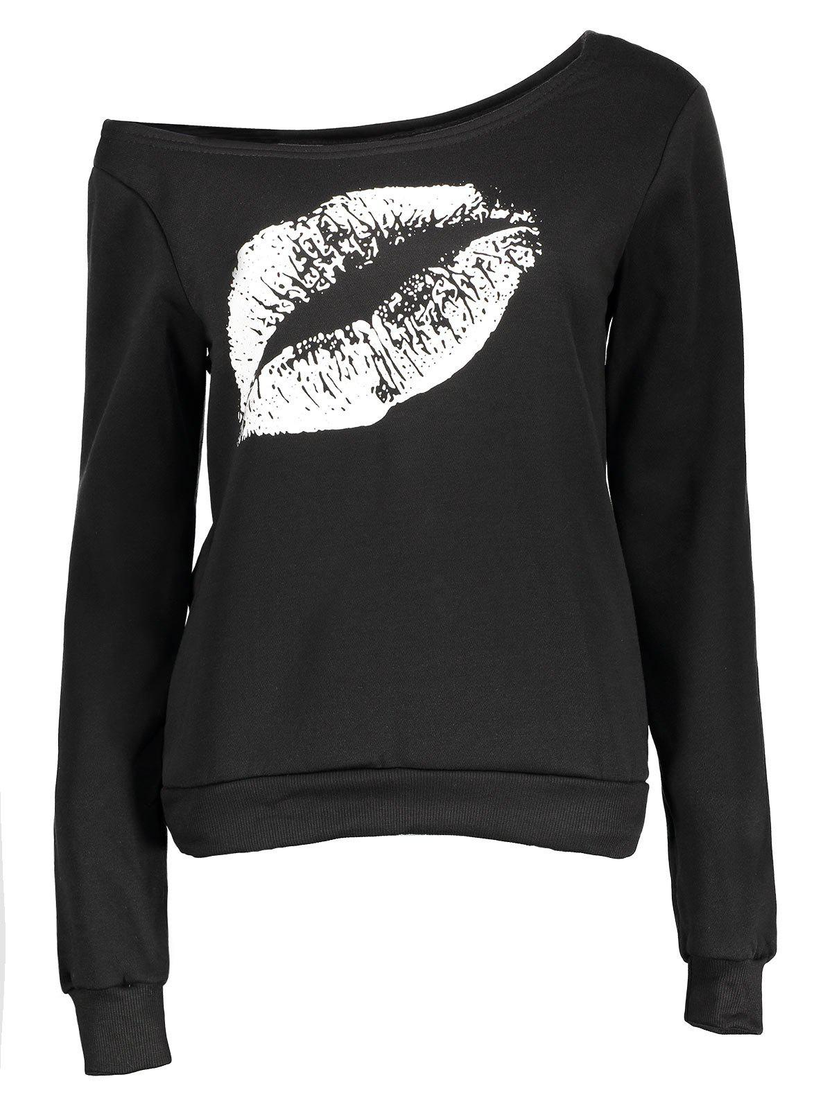 Skew Collar Lip Print SweatshirtWOMEN<br><br>Size: S; Color: WHITE AND BLACK; Material: Polyester; Shirt Length: Regular; Sleeve Length: Full; Style: Fashion; Pattern Style: Print; Weight: 0.3320kg; Package Contents: 1 x Sweatshirt;