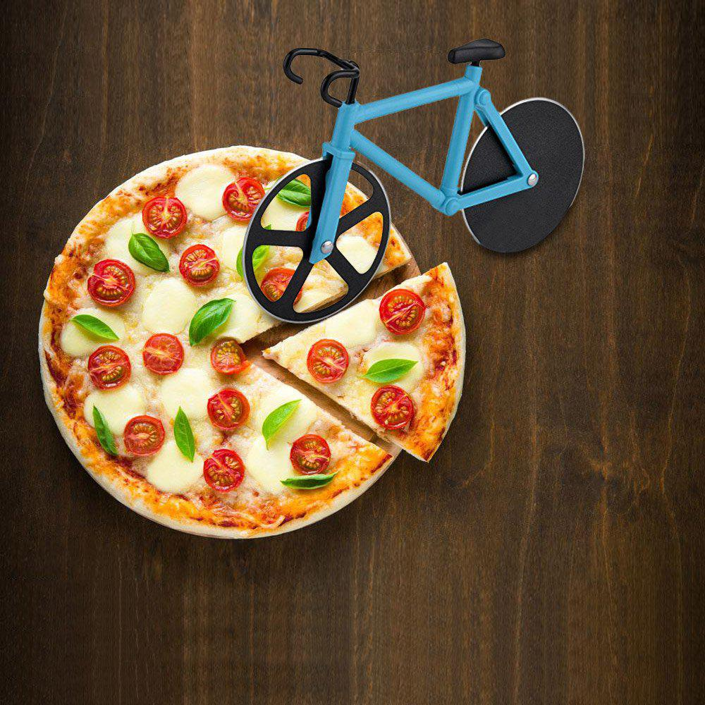 Stainless Steel Bicycle Design Pizza CutterHOME<br><br>Color: LAKE BLUE; Material: ABS,Stainless Steel; Size(CM): 18.5 x 11.5 CM; Weight: 0.1642kg; Package Contents: 1 x Pizza Cutter;