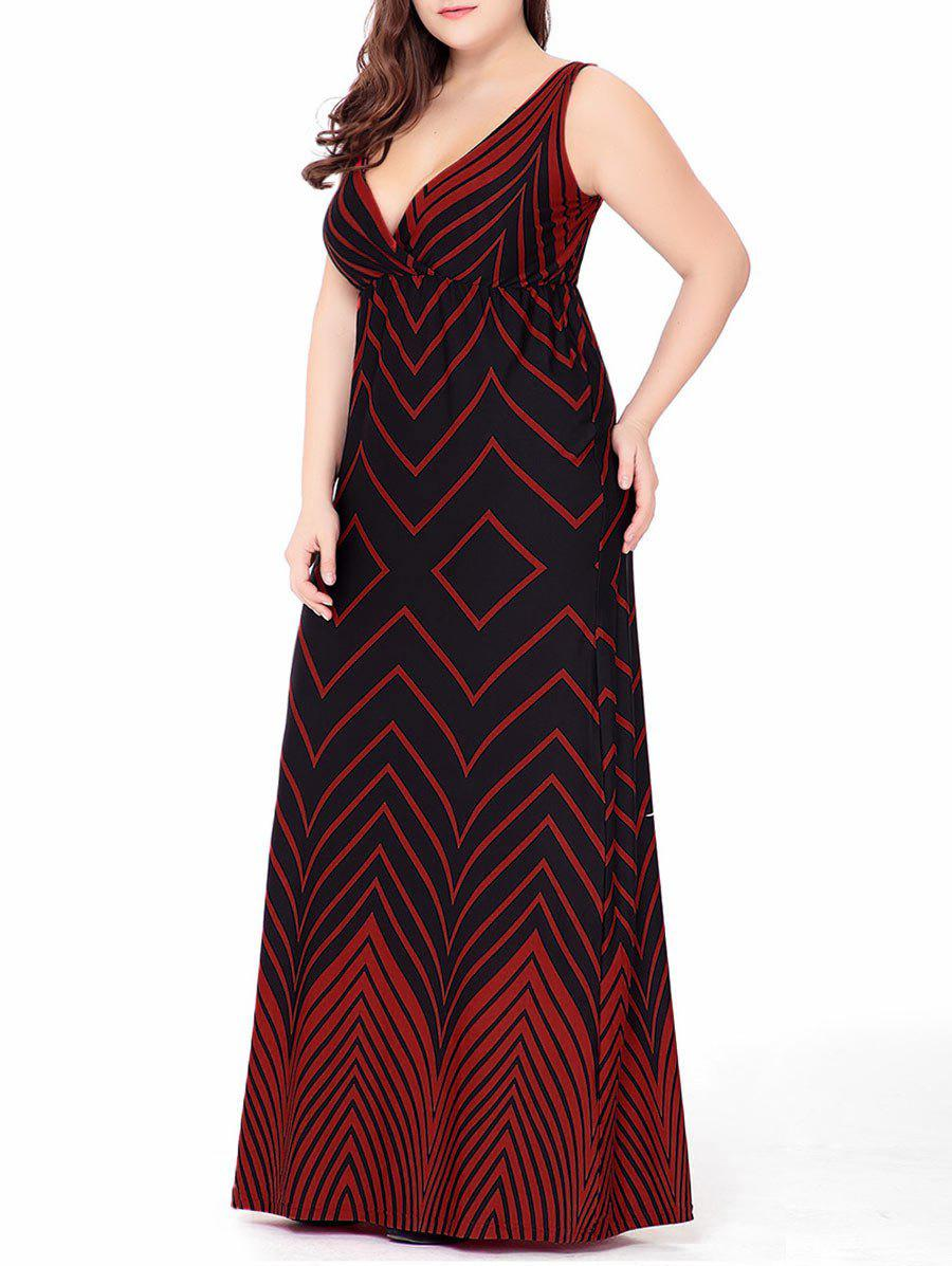 Plus Size Zigzag Long Plunge Formal  DressWOMEN<br><br>Size: 4XL; Color: RED; Style: Bohemian; Material: Cotton Blend,Polyester; Silhouette: Straight; Dresses Length: Floor-Length; Neckline: Plunging Neck; Sleeve Length: Sleeveless; Waist: Empire; Pattern Type: Chevron/Zig Zag; With Belt: No; Season: Spring,Summer; Weight: 0.3300kg; Package Contents: 1 x Dress;
