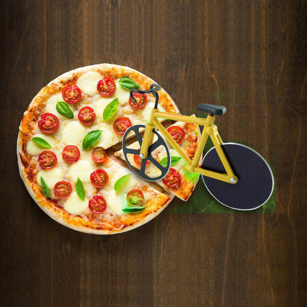 Stainless Steel Bicycle Design Pizza CutterHOME<br><br>Color: DEEP YELLOW; Material: ABS,Stainless Steel; Size(CM): 18.5 x 11.5 CM; Weight: 0.1642kg; Package Contents: 1 x Pizza Cutter;