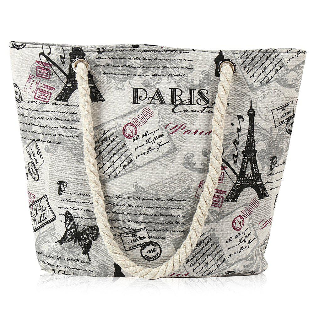 Outfits Printed Canvas Rope Beach Bag