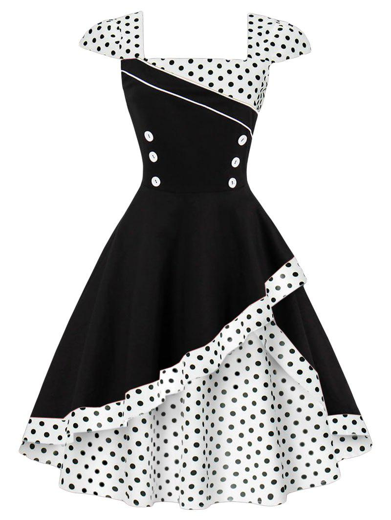 Cap Polka Dot Corset Vintage DressWOMEN<br><br>Size: S; Color: WHITE; Style: Vintage; Material: Polyester,Spandex; Silhouette: A-Line; Dresses Length: Knee-Length; Neckline: Square Collar; Sleeve Length: Sleeveless; Pattern Type: Polka Dot; With Belt: No; Season: Summer; Weight: 0.4000kg; Package Contents: 1 x Dress;