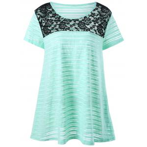 Plus Size Lace Trim Striped T-Shirt