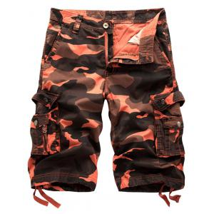 Camo Cargo Shorts with Flap Pockets - Brick-red - 38