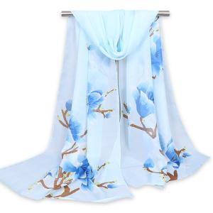 Floral Branch Printed Chinoiserie Shawl Scarf - Light Blue