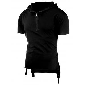 Half Zip Short Sleeves Hooded High-Low T-Shirt