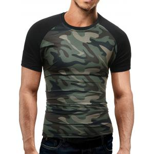 Raglan Sleeve Camo T-Shirt - Green - 2xl