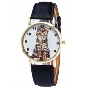 Faux Leather Cat Pattern Number Watch - Black - M