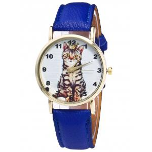 Faux Leather Cat Pattern Number Watch - Blue