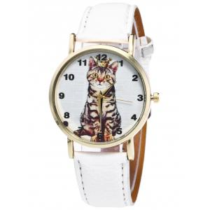 Faux Leather Cat Pattern Number Watch - White