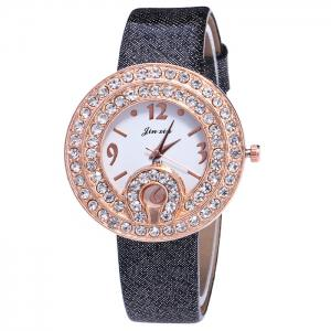 Faux Leather Strap Rhinestone Number Watch - Black