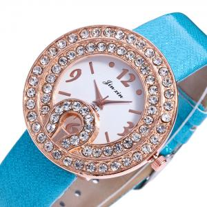 Faux Leather Strap Rhinestone Number Watch -