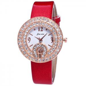 Faux Leather Strap Rhinestone Number Watch