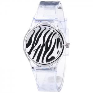 Silicone Zebra Stripe Face Quartz Watch - Black
