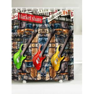 Guitar Water Resistant Fabric Shower Curtain