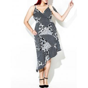 Asymmetric Plus Size Paisley Slip Tea Length Dress