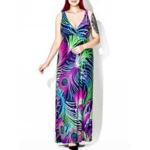 Feather Print Maxi Dress for Plus Size