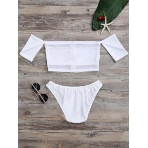 Off The Shoulder High Cut Mesh Bikini Set - White - Xl