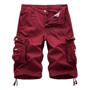 Zip Fly Flap Pockets Cargo Shorts - Wine Red - 36