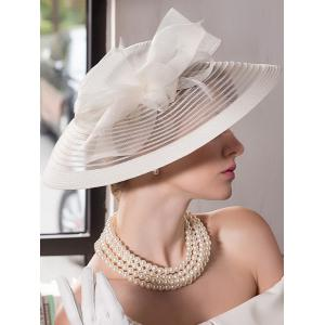 Organza Bowknot Wide Brim Cocktail Hat - OFF WHITE