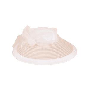 Organza Bowknot Wide Brim Cocktail Hat - OFF-WHITE