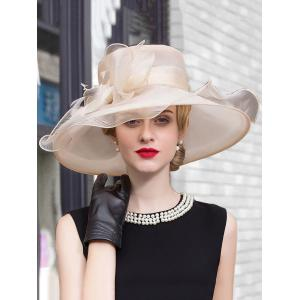 Feather Bowknot Wide Brim Fedora Sun Hat