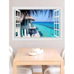 Revemovable 3D Seascape Faux Window Wall Sticker