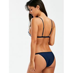 High Cut Cami Bikini Set With Anchor Print - PURPLISH BLUE S