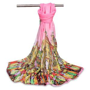 Chiffon Cartoon City Life Gossamer Shawl Scarf - Pink