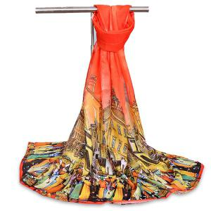 Chiffon Cartoon City Life Gossamer Shawl Scarf - Jacinth - M