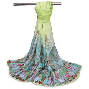 Chiffon Cartoon City Life Gossamer Shawl Scarf - Apple Green