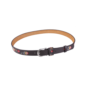 Flower Embroidered Ethnic Faux Leather Belt - Coffee - M