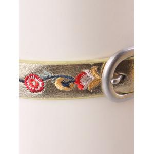Flower Embroidered Ethnic Faux Leather Belt - GOLDEN